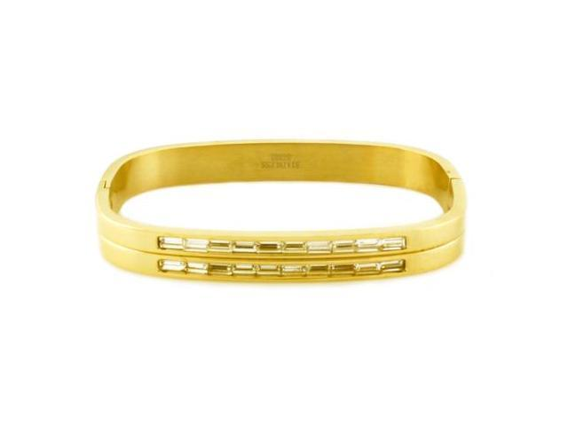 Tioneer B30378 Stainless Steel Gold Plated Rectangular Bangle w/ Baguette CZ Cut
