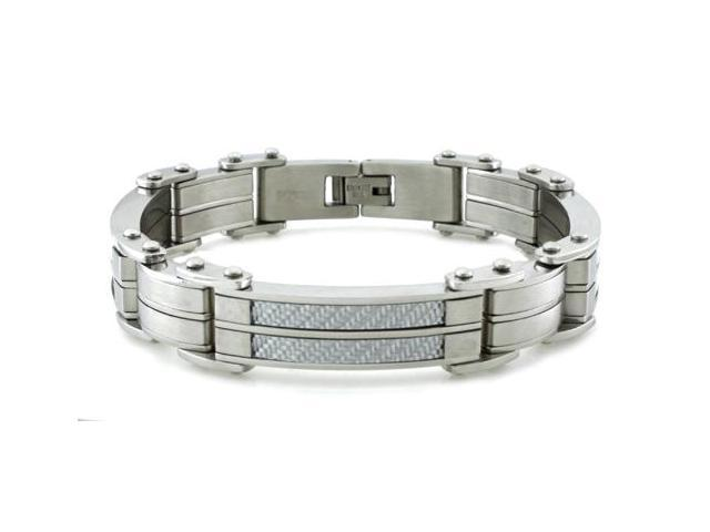 Gladiator Stainless Steel Bracelet w/ White Carbon Fiber Inlay