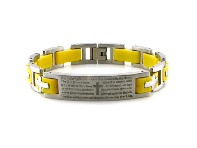 Stainless Steel Lord's Prayer ID Biker Bracelet w/ Yellow Rubber Links 8.5