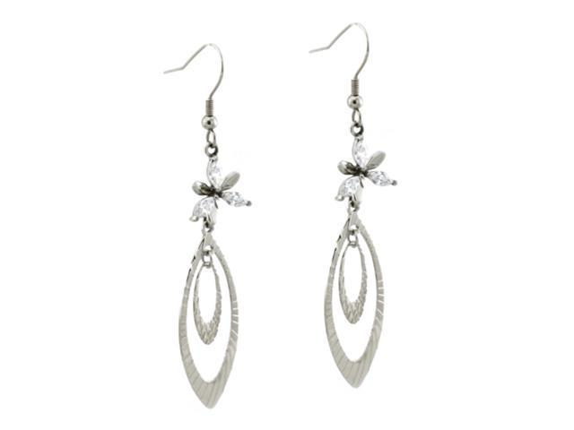 Stainless Steel Crystal Tear Drop Dangle Earrings
