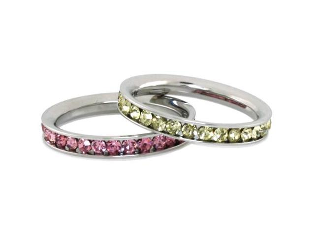 Stainless Steel Eternity 3mm Citrine & Rosaline Color Crystal Rings (2 pieces)