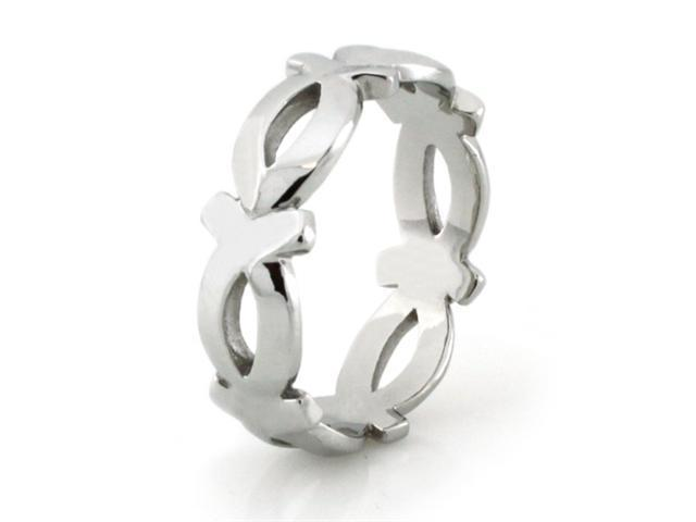 Stainless Steel High Polish Eternity Fish Ring