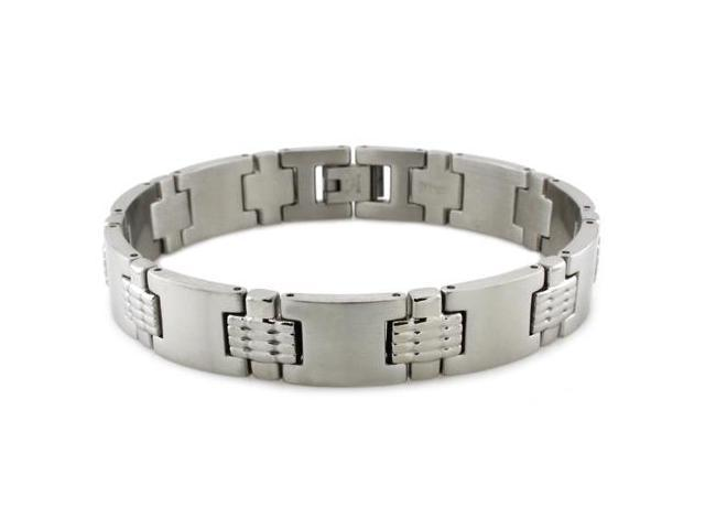Stainless Steel High Polish/Satin Finish Link Bracelet 8.25