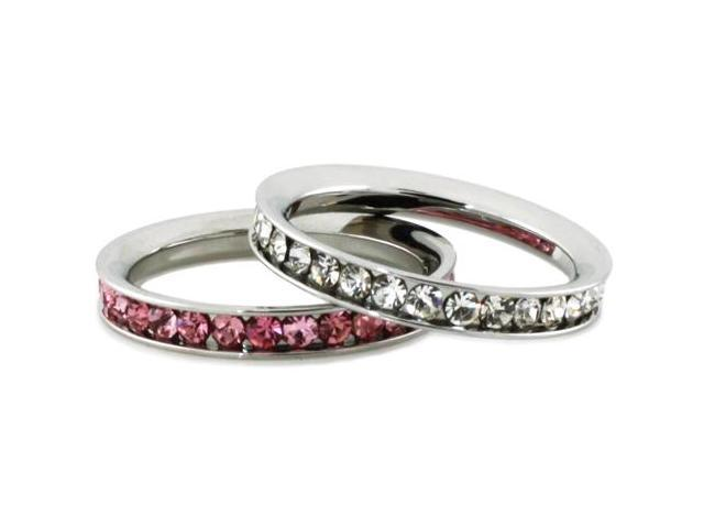 Stainless Steel Eternity 3mm Clear & Rosaline Color Crystal Rings (2 pieces)