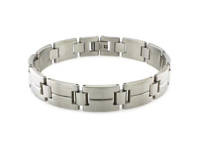 Tioneer Men's Stainless Steel Grooved High Polish/Satin Finish Link Bracelet