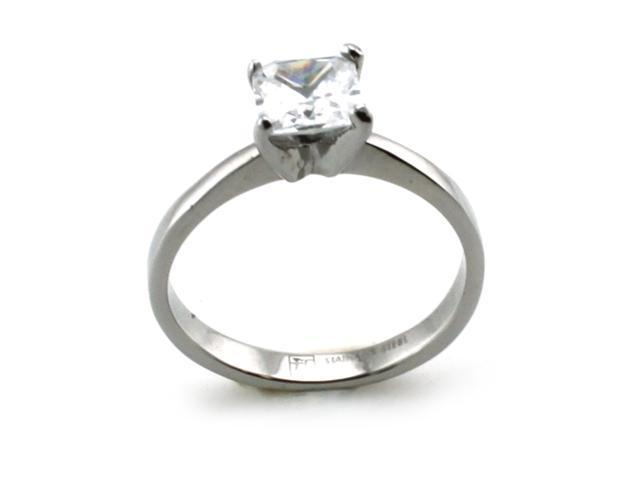 Stainless Steel Solitaire Princess Cut CZ Promise Ring