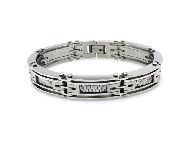 Stainless Steel High Polish/Satin Finish Link Bracelet w/ Mesh Inlay 8.25