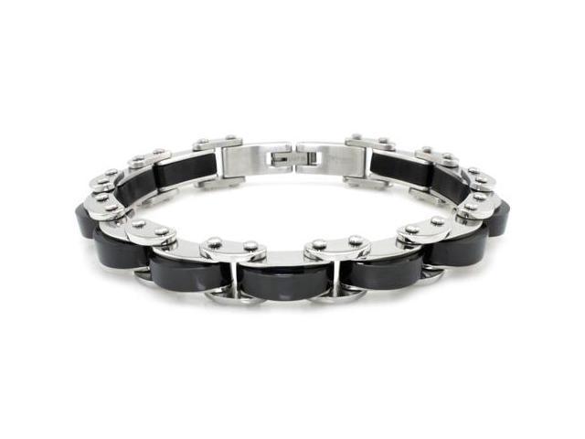 Tioneer B32225B Two-Tone Black Stainless Steel Biker Chain Link Bracelet