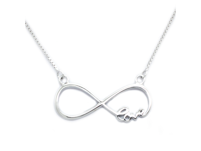 Tioneer Sterling Silver Infinity Love Pendant with Adjustable 16