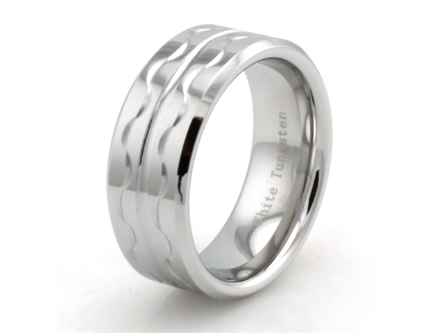 Hand Carved White Tungsten Ring w/ Wave Design
