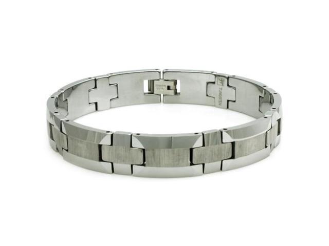 Tungsten Bracelet w/ Wood Style Design - Length 8.5
