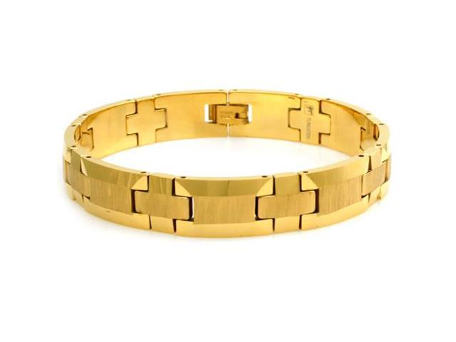 """Tungsten Wood Style Design Gold Plated Bracelet - Length 8.5"""""""