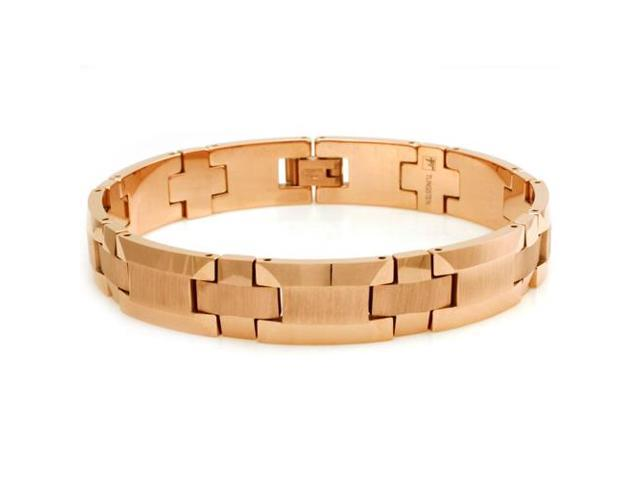 """Tungsten Wood Style Design Rose Gold Plated Bracelet - Length 8.5"""""""