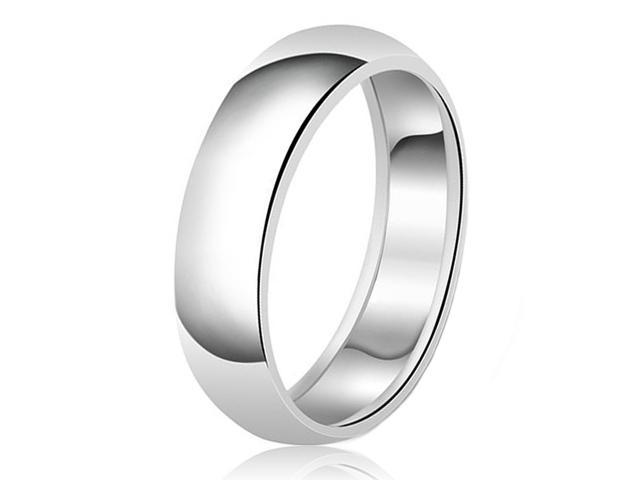 8mm Classic Sterling Silver Plain Wedding Band Ring