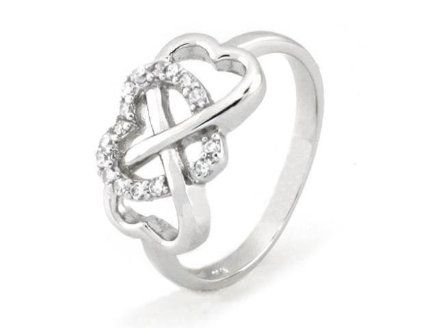 Sterling Silver Heart Infinity Ring w/ Cubic Zirconia