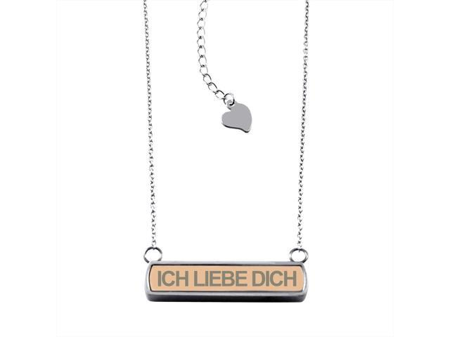 Rose Gold Stainless Steel Laser Engraved I Love You (in German) Horizontal Bar Charm Necklace Pendant
