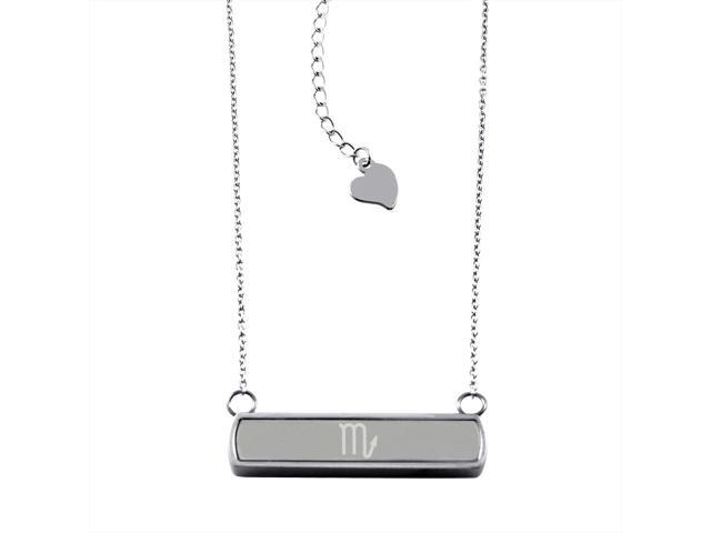 Stainless Steel Laser Engraved Scorpio Astrology Symbol Horizontal Bar Charm Necklace Pendant