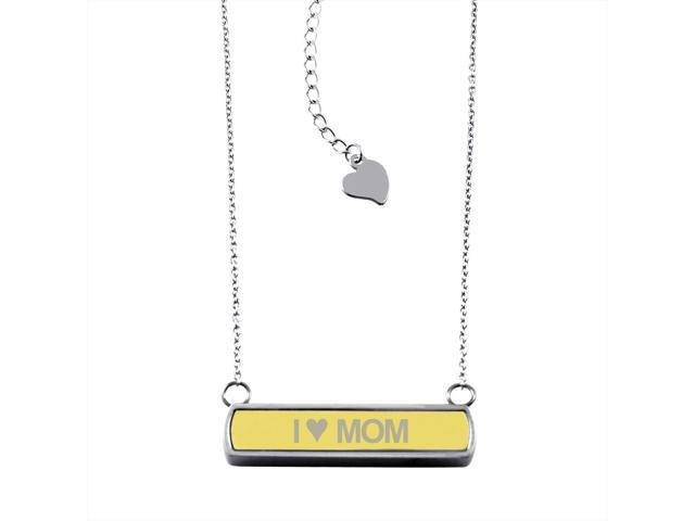 Gold Stainless Steel Laser Engraved I Heart Mom Horizontal Bar Charm Necklace Pendant