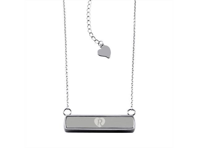 Stainless Steel Laser Engraved Heart Alphabet Letter R Horizontal Bar Charm Necklace Pendant