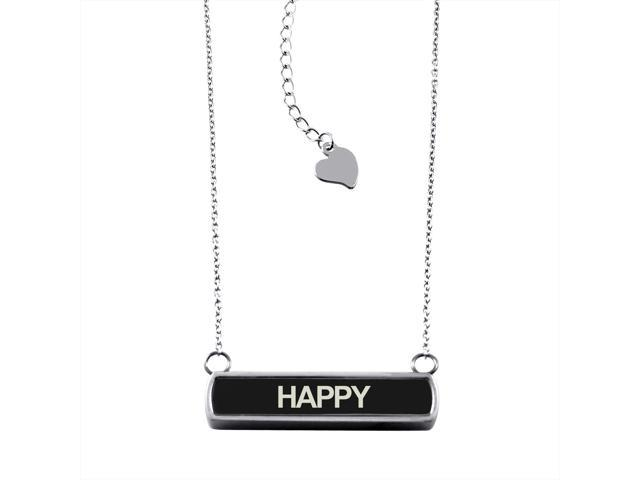 Black Stainless Steel Laser Engraved Happy Horizontal Bar Charm Necklace Pendant