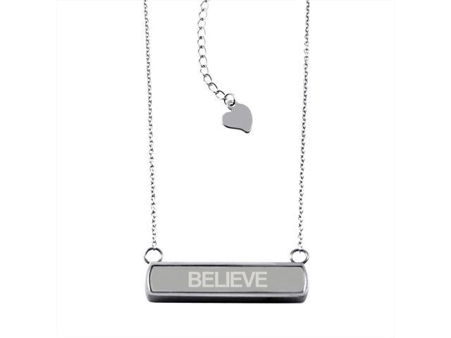 Stainless Steel Laser Engraved Believe Horizontal Bar Charm Necklace Pendant