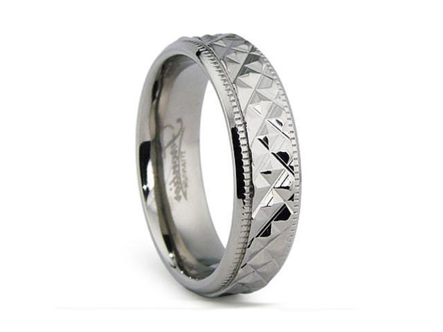 6MM Crystal Cut High Polish Titanium Ring