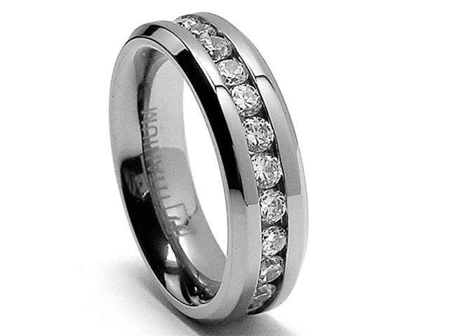 6MM Ladies Eternity Titanium Ring Wedding Band with CZ