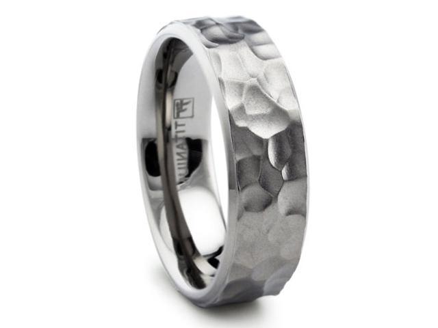8MM Hammered Titanium Ring Wedding Band Matte Finish