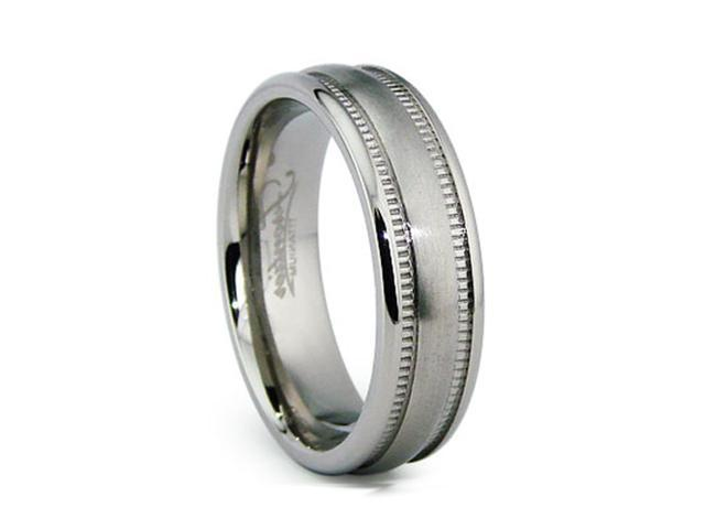 6MM Miligrained High Polish / Matte Finish Titanium Ring