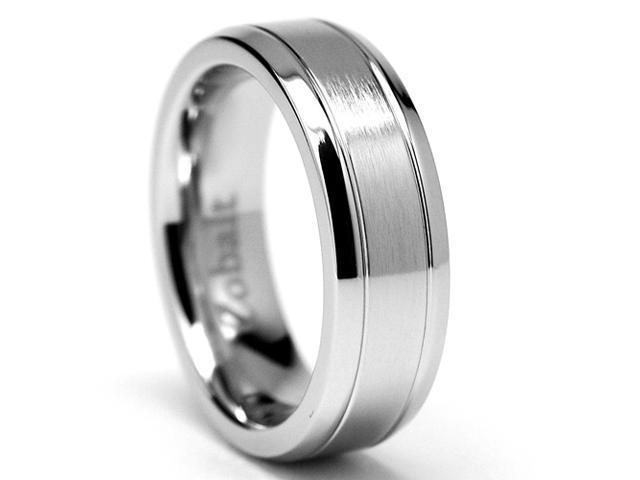 6MM Grooved High Polish Matte Finish Men's Cobalt Chrome Ring Wedding Band