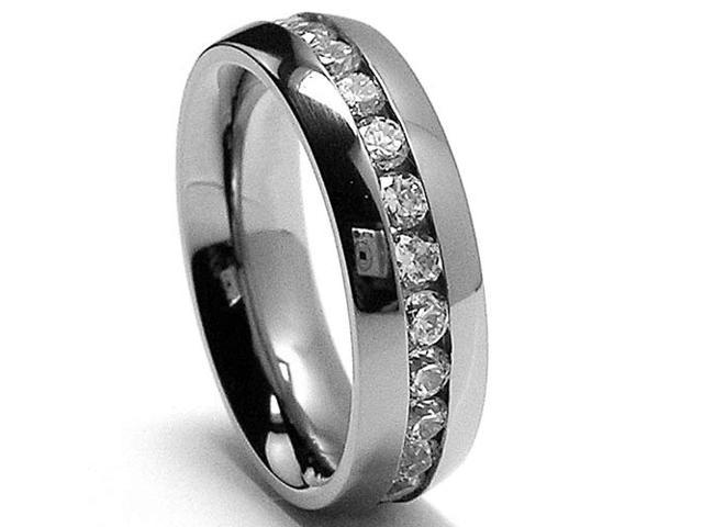 6MM High Polish Ladies Eternity Titanium Ring Wedding Band with CZ