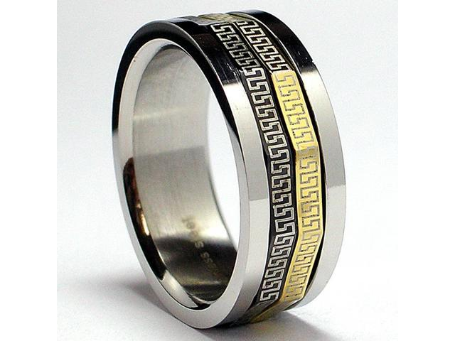 Tricolor Greek Key Laser Design Stainless Steel Spinner Ring