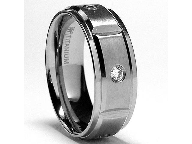 8MM Grooved Titanium Ring Wedding Band with 5 Cubic Zirconia