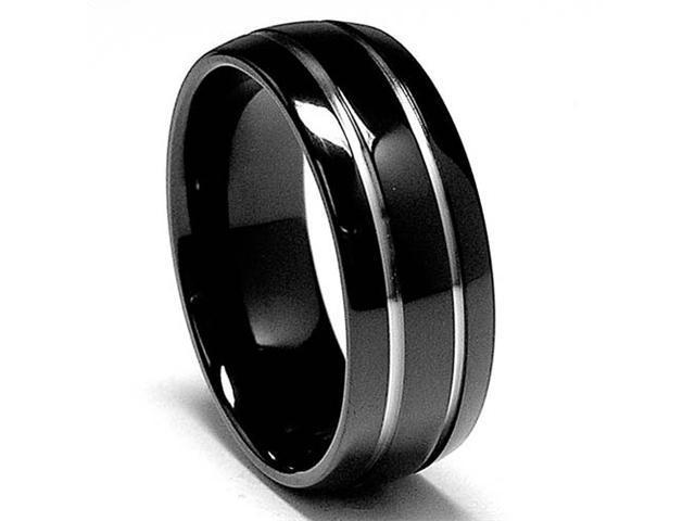 8 MM Black Titanium ring Wedding Band with Two Grooves