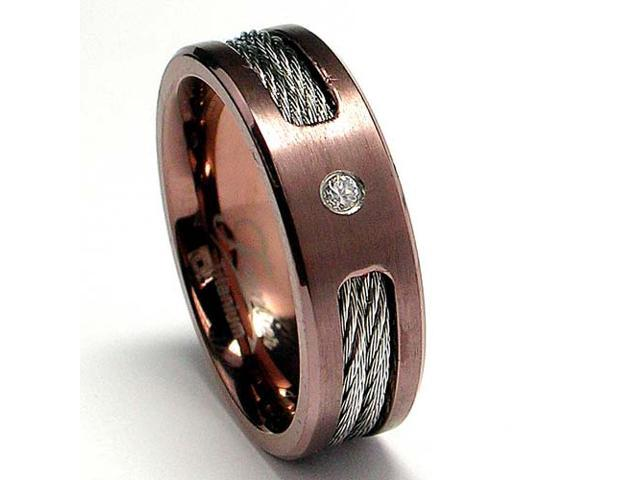 Chocolate Titanium ring Wedding band with Stainless Steel Cables and CZ