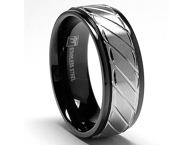 8MM Two Tone Stainless Steel Black Ring with Crystal Cut Grooves