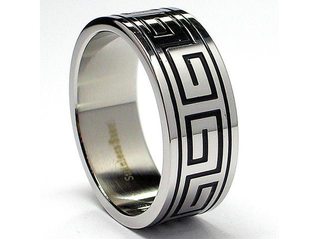 8MM Greek Key Design Stainless Steel Ring