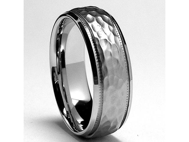 7MM Miligrained, Hammered Stainless Steel Ring