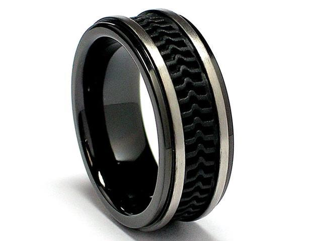 8MM Black Titanium Ring with Rubber inlay