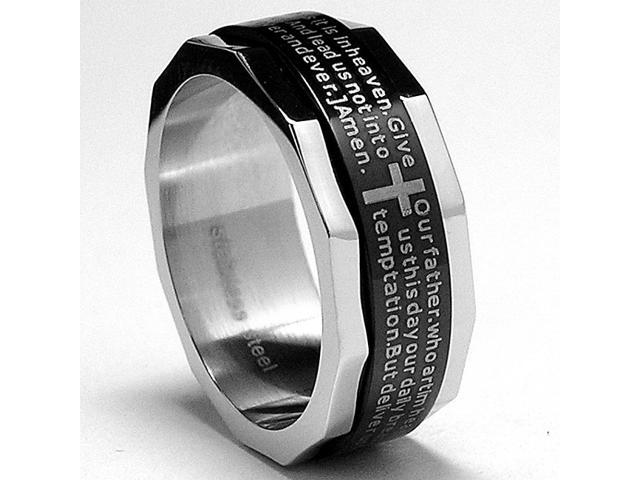 Two Tone Stainless Steel Ring with Lords Paryer and Cross Design