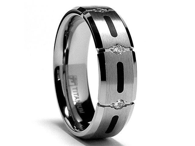7MM Titanium Ring Wedding Band with Resin Inlay and 3 Stone CZ