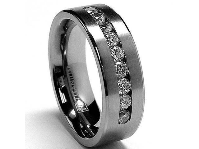 8 MM Men's Titanium ring wedding band with 9 large Channel Set CZ