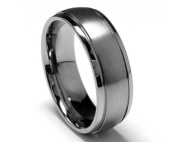 7 MM High Polish / Matte Finish Titanium ring with Grooves