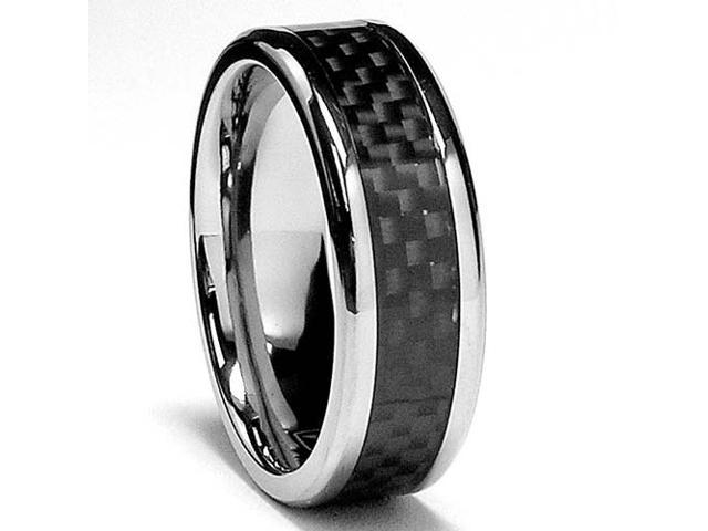 7 MM Titanium Ring Wedding Band with Carbon Fiber inlay