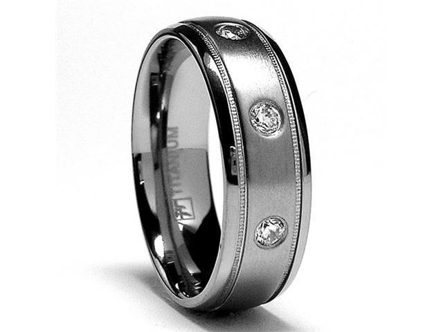 7MM Miligrained Titanium Ring Wedding Band with 3 CZ
