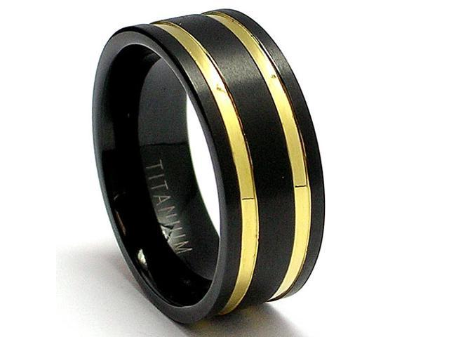 14K Gold Plated Black Titanium Ring Wedding Band