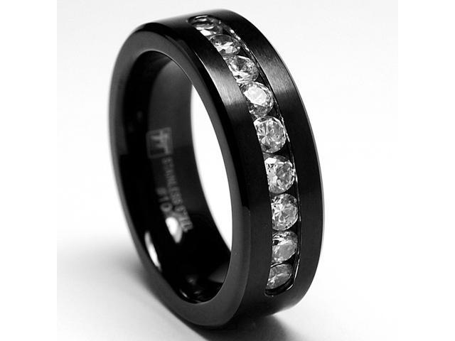 8MM Black Stainless Steel Ring, Band 9 Large Cubiz Zirconia