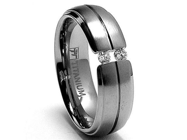 6MM Ladies Tension Set Titanium Ring Wedding Band with CZ