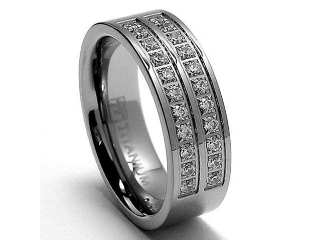 6MM High Polish Ladies Titanium Ring with Pave Set CZ