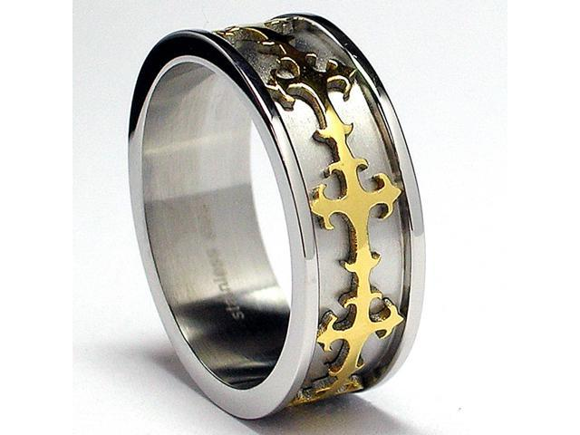8MM Gold Plated Eternity Cross Stainless Steel Ring